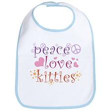 Peace Love Kitties Bib