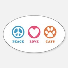 Peace Love Cats [r] Sticker (Oval)