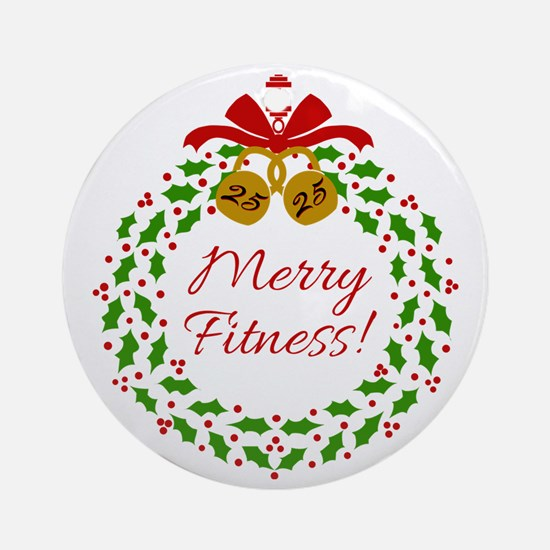 Merry Fitness Wreath Round Ornament