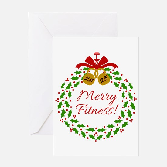 Merry Fitness Wreath Greeting Cards