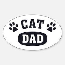 Cat Dad [b/w] Sticker (Oval)