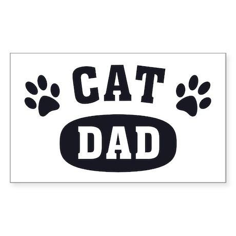 Cat Dad [b/w] Sticker (Rectangle)