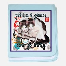 Cat Gemini baby blanket