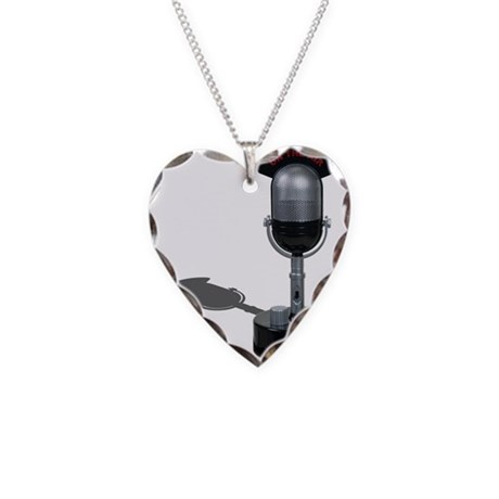 On the Air Pill Microphone Necklace Heart Charm