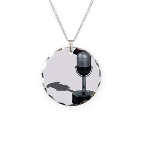 On the Air Pill Microphone Necklace Circle Charm