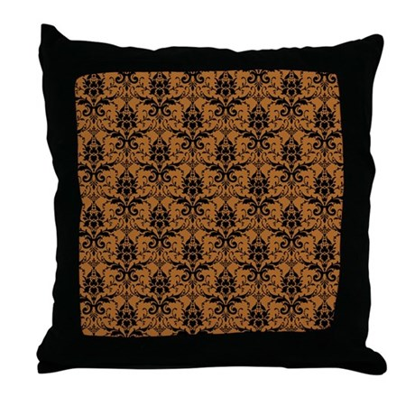 Brown Damask Throw Pillow by expressivemind