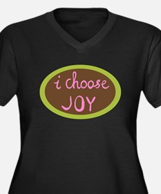 I Choose Joy Women's Plus Size V-Neck Dark T-Shirt
