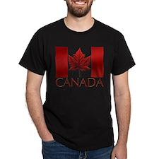 Canadian Flag T-shirt Canada Black T-Shirt