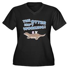 Otter Women's Plus Size V-Neck Dark T-Shirt