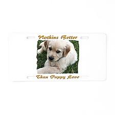 Golden Retriever Puppy Love Aluminum License Plate