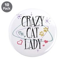 "Crazy Cat Lady 3.5"" Button (10 pack)"