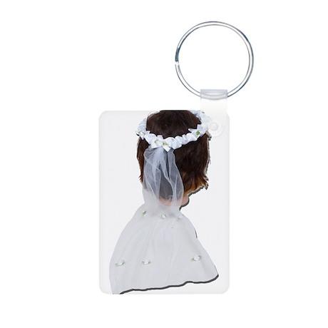 Wearing Lace Veil Aluminum Photo Keychain