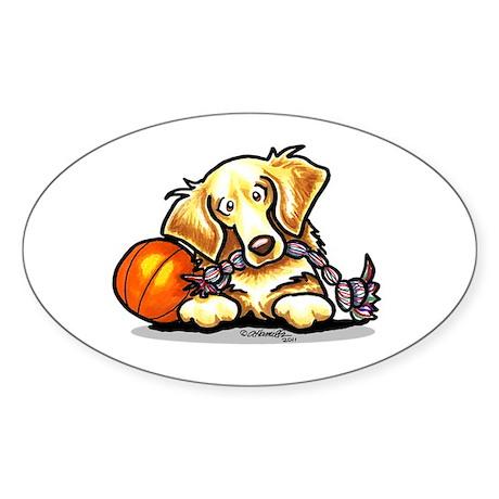 Golden Retriever Player Sticker (Oval)