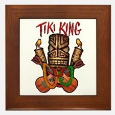 The Tiki King crossed Ukes Logo Framed Tile