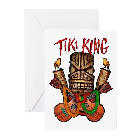The Tiki King crossed Ukes Logo Greeting Cards (Pk