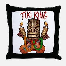 The Tiki King crossed Ukes Logo Throw Pillow
