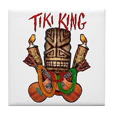 The Tiki King crossed Ukes Logo Tile Coaster