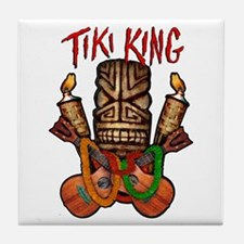 The Tiki King crossed Ukes Logo Tile Coaster