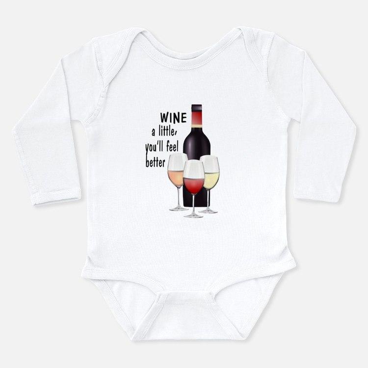 Wine a little Long Sleeve Infant Bodysuit
