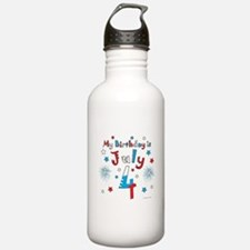 July 4th Birthday Red, White, Blue Water Bottle