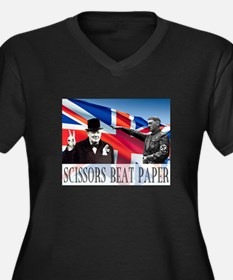Scissors Beat Paper Women's Plus Size V-Neck Dark
