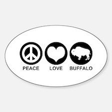 Peace Love Buffalo Sticker (Oval)