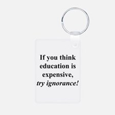 Education quote (black) Keychains