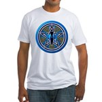 Blue-Gold Goddess Pentacle Fitted T-Shirt
