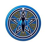 Blue-Gold Goddess Pentacle Ornament (Round)