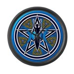 Blue-Gold Goddess Pentacle Large Wall Clock