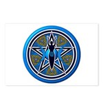 Blue-Gold Goddess Pentacle Postcards (Package of 8