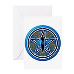 Blue-Gold Goddess Pentacle Greeting Card