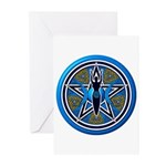 Blue-Gold Goddess Pentacle Greeting Cards (Pk of 2