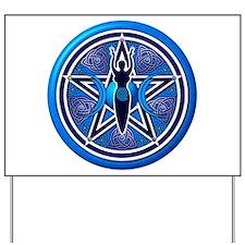 Blue-Silver Goddess Pentacle Yard Sign