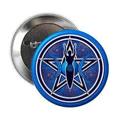 Blue-Silver Goddess Pentacle 2.25