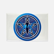 Blue-Silver Goddess Pentacle Rectangle Magnet