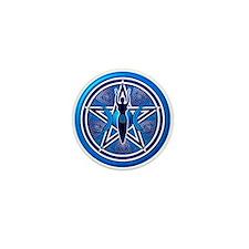 Blue-Silver Goddess Pentacle Mini Button