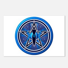 Blue-Silver Goddess Pentacle Postcards (Package of