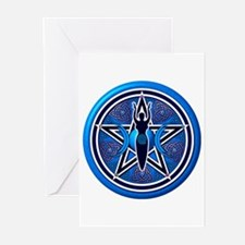 Blue-Silver Goddess Pentacle Greeting Cards (Pk of