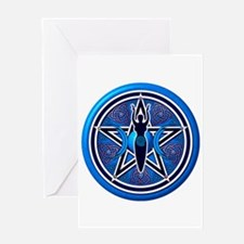Blue-Silver Goddess Pentacle Greeting Card