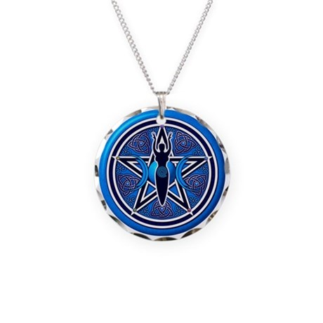 Blue-Silver Goddess Pentacle Necklace Circle Charm