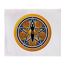 Gold-Blue Goddess Pentacle Throw Blanket