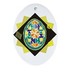 Ukranian Geometric Easter Egg Ceramic Ornament