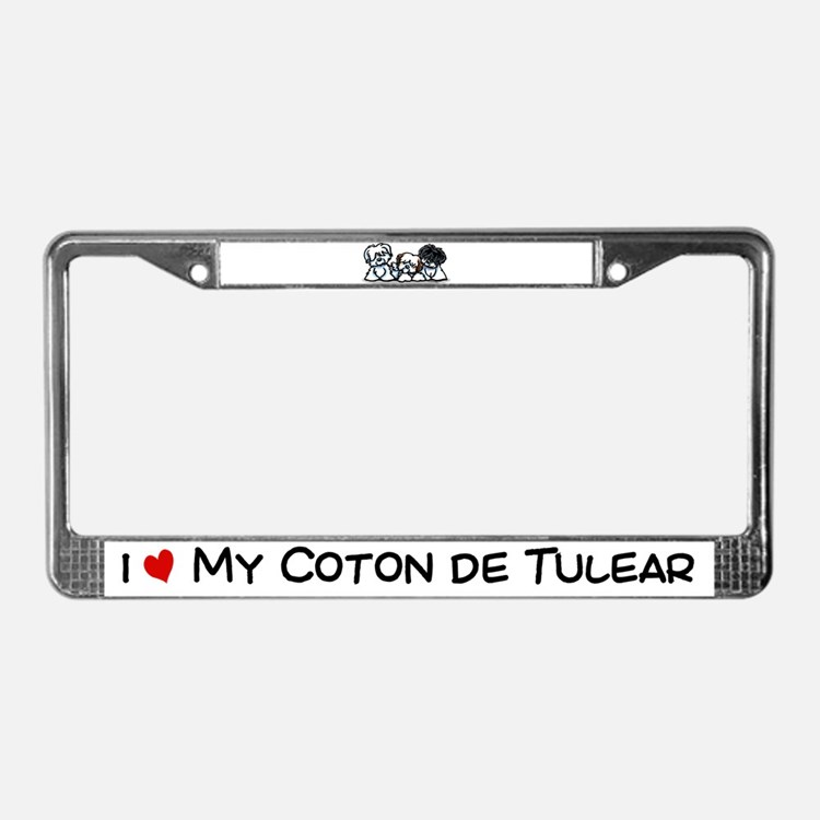 Three Cotons License Plate Frame