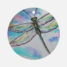 Dragonfly, colorful, Ornament (Round)