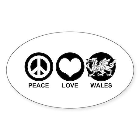 Peace Love Wales Sticker (Oval)