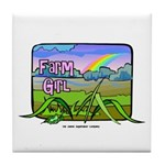 Farm Girl Rainbow Tile Coaster