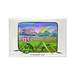 Farm Girl Rainbow Rectangle Magnet