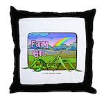 Farm Girl Rainbow Throw Pillow