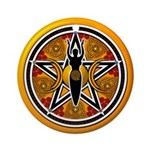 Gold-Red Goddess Pentacle Ornament (Round)